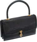 Luxury Accessories:Bags, Hermes Shiny Black Porosus Crocodile Chaine d'Ancre Clasp Bag withGold Hardware. ...