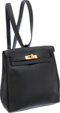 Luxury Accessories:Bags, Hermes 20cm Black Gulliver Leather Kelly Ado Backpack with GoldHardware. ...