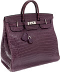 Luxury Accessories:Bags, Hermes Extremely Rare 40cm Matte Amethyst Porosus Crocodile HACBirkin Bag with Palladium Hardware. ...