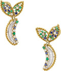 Estate Jewelry:Earrings, Diamond, Emerald, Sapphire, Platinum, Gold Earrings. ...