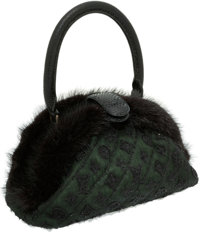 Louis Vuitton Limited Edition Green Mousseline Mink and Crystal Demi Lune Show Bag