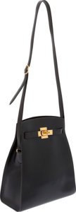 Luxury Accessories:Bags, Hermes Black Calf Box Leather Kelly Sport Bag with Gold Hardware....