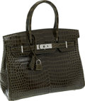 Luxury Accessories:Bags, Hermes 30cm Shiny Vert Veronese Porosus Crocodile Birkin Bag withPalladium Hardware. ...