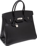 Luxury Accessories:Bags, Hermes 36cm Black Calf Box Leather HAC Birkin Bag with PalladiumHardware. ...