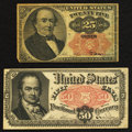 Fractional Currency:Fifth Issue, Fr. 1308 25¢ Fifth Issue Fine. Fr. 1379 50¢ Fifth Issue ExtremelyFine.. ... (Total: 2 items)