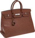 Luxury Accessories:Bags, Hermes 40cm Noisette Ostrich Birkin Bag with Palladium Hardware....