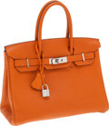 Luxury Accessories:Bags, Hermes 30cm Potiron Clemence Leather Birkin Bag with Palladium Hardware. ...