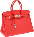 Luxury Accessories:Bags, Hermes 35cm Rose Jaipur Clemence Leather Birkin Bag with PalladiumHardware. ...