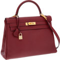Luxury Accessories:Bags, Hermes 32cm Rouge H Chevre Leather Retourne Kelly Bag with Gold Hardware. ...