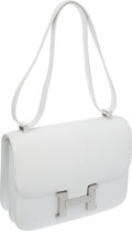 Luxury Accessories:Bags, Hermes 23cm White Epsom Leather Constance Bag with PalladiumHardware. ...
