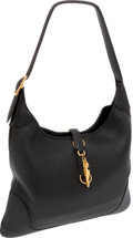 Luxury Accessories:Bags, Hermes 31cm Black Clemence Leather Trim Bag with Gold Hardware. ...