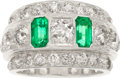 Estate Jewelry:Rings, Art Deco Diamond, Emerald, Platinum Ring. ...