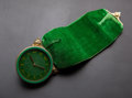 Timepieces:Clocks, Vintage Bucherer Green Enameled Hanging Watch. ...