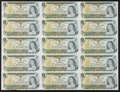 Canadian Currency: , BC-46b $1 1973 Uncut Sheet of Fifteen.. ...