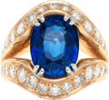 Estate Jewelry:Rings, Sapphire, Diamond, Pink Gold Ring. ...