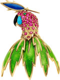 Estate Jewelry:Brooches - Pins, Ruby, Emerald, Turquoise, Onyx, Enamel, Gold Clip-Brooch, Schlumberger for Tiffany & Co., French. ...