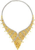 Estate Jewelry:Necklaces, Fancy Colored Diamond, Diamond, Gold Necklace. ...