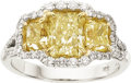 Estate Jewelry:Rings, Fancy Intense Yellow Diamond, Diamond, Platinum, Gold Ring. ...