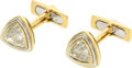 Estate Jewelry:Cufflinks, Diamond, Colored Diamond, Platinum, Gold Cuff Links. ...