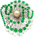 Estate Jewelry:Brooches - Pins, Emerald, Cultured Pearl, Diamond, White Gold Brooch, Boucheron,Paris. ...