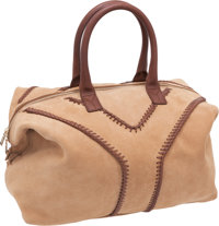 Yves Saint Laurent Beige Suede Bag with Dark Brown Leather Stitching