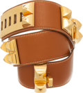 Luxury Accessories:Accessories, Hermes 68cm Gold Courchevel Leather Collier de Chien Belt. ...