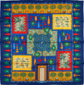 """Luxury Accessories:Accessories, Hermes Navy, Red, and Gold """"Paridaiza"""" by Eugene Brunelle SilkScarf. ..."""
