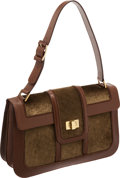 Luxury Accessories:Bags, Lambertson Truex Green Corduroy and Brown Leather Shoulder Bag. ...