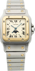 Estate Jewelry:Watches, Cartier Gentleman's Santos Stainless Steel, Gold Galbee Moon PhaseWristwatch. ...
