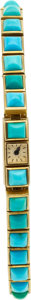 Estate Jewelry:Watches, Jaeger LeCoultre Lady's Turquoise, Gold Wristwatch. ...