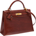 Luxury Accessories:Bags, Hermes 32cm Shiny Miel Porosus Crocodile Sellier Kelly Bag withGold Hardware. ...