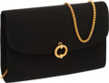 Luxury Accessories:Bags, Asprey Black Satin Evening Bag with Chain and Satin Strap. ...