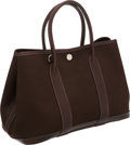 Luxury Accessories:Bags, Hermes Brown Canvas and Leather Garden Party PM Tote Bag. ...