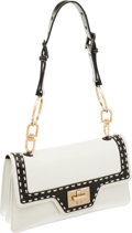 Luxury Accessories:Bags, Givenchy Black and White Leather Shoulder Bag. ...