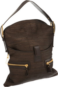 """VBH Handmade Numbered Edition Brown Leather and Ostrich Leg Shoulder Bag Excellent Condition 15"""""""