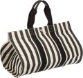 Luxury Accessories:Bags, Hermes Black & White Canvas Beach Tote Bag. ...