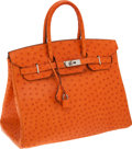 Luxury Accessories:Bags, Hermes 35cm Tangerine Ostrich Birkin Bag with Palladium Hardware....