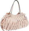Luxury Accessories:Bags, Valentino Light Pink Ruched Leather Large Tote. ...