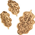 Luxury Accessories:Accessories, Set of Two; Isabel Canovas Gold Leaf Pin & Earrings. ...(Total: 2 Items)