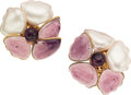 Luxury Accessories:Accessories, Chanel Pearl & Purple Gripoix Paisley Flower Earrings. ...