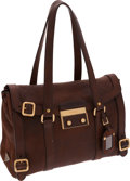Luxury Accessories:Bags, Prada Brown Deerskin Leather Shoulder Bag with Gold Hardware. ...