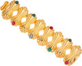 Luxury Accessories:Accessories, Fendi Gold Bracelet with Multicolor Cabochon Stones. ...