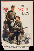 "Movie Posters:War, World War I Propaganda (Comm. on Public Information, 1918).YMCA/United War Work Campaign Poster (20"" X 30""). War.. ..."