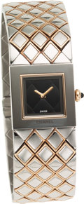 Luxury Accessories:Accessories, Chanel Classic Quilted Silver Watch with Black Dial. ...