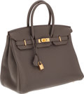 Luxury Accessories:Bags, Hermes 35cm Etain Togo Leather Birkin Bag with Gold Hardware. ...