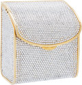 "Luxury Accessories:Bags, Judith Leiber Full Bead Silver Crystal Minaudiere Evening Bag withChain Strap. Excellent Condition. 3.5"" Width x 4""H..."