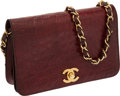Luxury Accessories:Bags, Chanel Matte Burgundy Freshwater Turtle Evening Bag with Turnlock & Gold Hardware. ...
