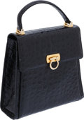 Luxury Accessories:Bags, Salvatore Ferragamo Shiny Freshwater Turtle Black Bag with GoldHardware. ...