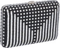 Luxury Accessories:Bags, Judith Leiber Full Bead Black and Silver Crystal Minaudiere EveningBag. ...