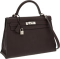 Luxury Accessories:Bags, Hermes 32cm Ebene Togo Leather Sellier Mou Kelly Bag with PalladiumHardware. ...
